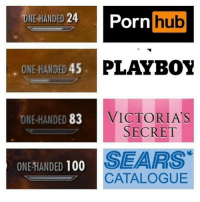 The last one should be replaced with shampoo labels 💁: DIE HANDED  24  Porn  hub  ONE HANDED 45  PLAYBOY  ONE HANDED 83  VICTORIA S  SECRET  SEARS  ONE HANDED  100  CATALOGUE The last one should be replaced with shampoo labels 💁