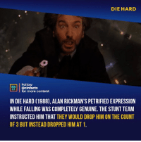 There will never be another Hans, RIP Alan⠀ -⠀ Follow @cinfacts for more facts: DIE HARD  Follow  NENA  ACTS  @cinfacts  for more content  IN DIE HARD (1988), ALAN RICKMAN'S PETRIFIED EXPRESSION  WHILE FALLING WAS COMPLETELY GENUINE. THE STUNT TEAM  INSTRUCTED HIM THAT THEY WOULD DROP HIM ON THE COUNT  OF 3 BUT INSTEAD DROPPED HIM AT 1 There will never be another Hans, RIP Alan⠀ -⠀ Follow @cinfacts for more facts