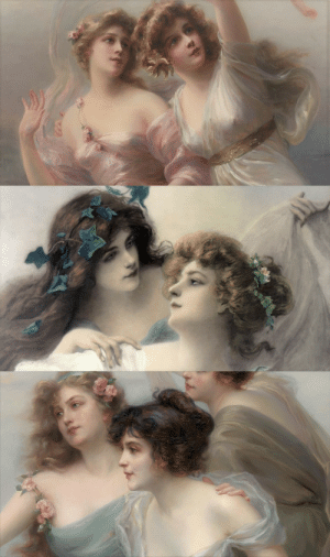 die-rosastrasse: Édouard Bisson  French, 1856-1939    Love's Messengers  , Two Maidens, The Three Graces (details) : die-rosastrasse: Édouard Bisson  French, 1856-1939    Love's Messengers  , Two Maidens, The Three Graces (details)