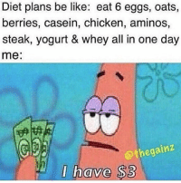 Be Like, Gym, and Chicken: Diet plans be like: eat 6 eggs, oats,  berries, casein, chicken, aminos,  steak, yogurt & whey all in one day  me:  @thegainz  I have $3 poorlyf 😓 @thegainz