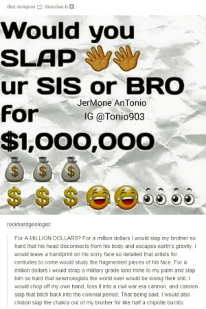 What would you do?omg-humor.tumblr.com: diet-tampon a dennise-b O  Would you  SLAP  ur SIS or BRO  JerMone AnTonio  for  IG @Tonio903  $1,000,000  $4  2$4  2$.  $$ $0066 5e  rockhardgeologist:  For A MILLION DOLLARS? For a million dollars I would slap my brother so  hard that his head disconnects from his body and escapes earth's gravity. I  would leave a handprint on his sorry face so detailed that artists for  centuries to come would study the fragmented pieces of his face. For a  million dollars I would strap a military grade land mine to my palm and slap  him so hard that seismologists the world over would be losing their shit. I  would chop off my own hand, toss it into a civil war era cannon, and cannon  slap that bitch back into the colonial period. That being said, I would also  chidori slap the chakra out of my brother for like half a chipotle burrito. What would you do?omg-humor.tumblr.com