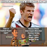 Club, Football, and Friends: DIFFERENCEBETWEEN MY FRIENDS AND ME  That's a  Thomas Muller  Football Player  Club: Bayern Munchen  right?  Position: Striker  Age: 27 years  Ie friend  Height: 1.86m  Weight: 74 kg  le me Precisely ! 😂👆