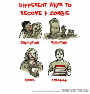 Tumblr, Http, and Pictures: DIFFERENT WS To  BECOME A ZoMBIE  INFECTION  RADIATION  MIRUS  more awesome pictures at THEMETAPICTURE.COM If you are a student Follow @studentlifeproblems