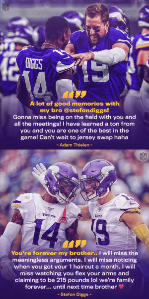 Diggs and Thielen forever 💜💛 @stefondiggs @athielen19 https://t.co/4Zdqg7jRnI: Diggs and Thielen forever 💜💛 @stefondiggs @athielen19 https://t.co/4Zdqg7jRnI