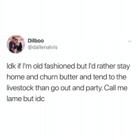 Party, Tbh, and Home: Dilboo  @dallenalvis  ldk if I'm old fashioned but I'd rather stay  home and churn butter and tend to the  livestock than go out and party. Call me  lame but idc ideal night in tbh