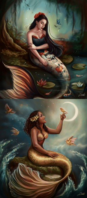 dim-draws:   I finished both of the digital paintings that I've been working on this  past week!! A mermaid with a golden tail and a mermaid with a koi fish inspired  tail! I loved working on both of them, they were a lot of work but I am  pleased with the results!   : dim-draws:   I finished both of the digital paintings that I've been working on this  past week!! A mermaid with a golden tail and a mermaid with a koi fish inspired  tail! I loved working on both of them, they were a lot of work but I am  pleased with the results!