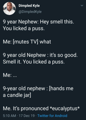 """I beg your pardon?!"": Dimpled Kyle  @DimpledKyle  9 year Nephew: Hey smell this.  You licked a puss.  Me: [mutes TV] what  9 year old Nephew : it's so good.  Smell it. You licked a puss.  Me: ...  9-year old nephew : [hands me  a candle jar]  Me. It's pronounced *eucalyptus*  5:10 AM · 17 Dec 19 · Twitter for Android ""I beg your pardon?!"""