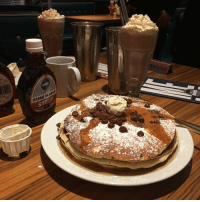 We came down to @thedineruk to take the Pancake & Shake challenge - 6 minutes to finish all this... SendHelp: DINER  PURE MAPLE  SYRUP  S  發  d  e  e We came down to @thedineruk to take the Pancake & Shake challenge - 6 minutes to finish all this... SendHelp
