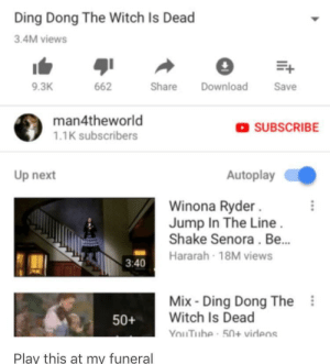 I'm a cunt: Ding Dong The Witch Is Dead  3.4M views  9.3K  662  hare Download Save  man4theworld  1.1K subscribers  SUBSCRIBE  Up next  Autoplay  Winona Ryder  Jump In The Line  Shake Senora. Be...  Hararah 18M views  3:40  Mix Ding Dong The  Witch Is Dead  50+  nThe-50+ virlens  Play this at my funeral I'm a cunt