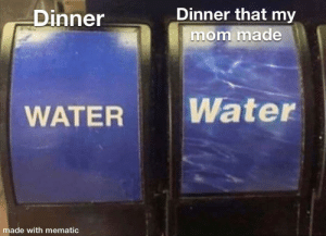 awesomacious:  I love my mom's cooking: Dinner that my  Dinner  mom made  Water  WATER  made with mematic awesomacious:  I love my mom's cooking