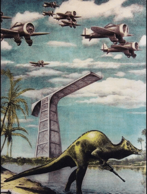 Dinosaurs, Fight, and Meteor: Dinosaurs preparing to fight against the meteor (colorized, circa 50,000,000 BC)