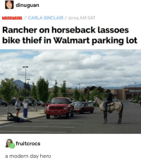 Walmart, Bike, and Hero: dinuguan  oincboinG /CARLA SINCLAIR/10:04 AM SAT  Rancher on horseback lassoes  bike thief in Walmart parking lot  Walrnart  fruitcrocs  a modern day hero RDR2