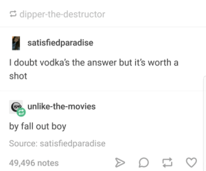 Vodka: dipper-the-destructor  satisfiedparadise  I doubt vodka's the answer but it's worth a  shot  unlike-the-movies  by fall out boy  Source: satisfiedparadise  49,496 notes Vodka