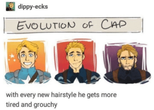 Evolution of Captain America: dippy-ecks  EvouuTION oF CAP  with every new hairstyle he gets more  tired and grouchy Evolution of Captain America