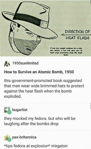 "Dank, Fedora, and Memes: DIRECTION OF  HEAT FLASH  If yov ere cought outdeors in ud  den ottetk, α hot will give you at  least seme protectien frem the ""hest  losb'  1950snlimited  How to Survive an Atomic Bomb, 1950  this government-promoted book suggested  that men wear wide brimmed hats to protect  against the heat flash when the bomb  exploded.  bugartist  they mocked my fedora. but who will be  laughing after the bombs drop  pax-britannica  *tips fedora at explosion* m'egaton We should at least show have decency to greet the explosion before it evaporates us by monit12345 MORE MEMES"