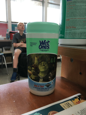 """I FOUND THIS IN SCHOOL WHAT: DIRECTIONS FOR USE: It is a violation of Federal law to use this product in a manner  Surfaces that may come in contact with food, a potable water rinse is required. Do n  labeling, Not for cleaning or sanitizing skin. Do not use as a diaper wipe or for persc  dishes or utensils. These wipes will not harm most surfaces, including acrylic, fiberg  RES  recommended for use on unpainted wood  TO CLEAN AND REMOVE ALLERGENS: Wipe surface with a wipe. Let air dry.Aller  Cockroach debris, cockroach matter, cockroach particles, dog dander, dust mite debris,  TO SANITIZE AND DEODORIZE: Use to sanitize/deodorize hard, nonporous non-food conta  Surface Use enough wipes for treated surfaces to remain visibly wet for 10 seconds. Let sura  siled surfaces,clean excess dirt first. Sanitizing organisms: Klebsiella pneumoniae, Staphy  TO DISINFECT: Use to disinfect hard, nonporous surfaces. Wipe surface to be disinfect  ipes for treated surface to remain visibly wet for 4 minutes. Let surface dry. For highly  clean excess dirt first. Organisms: Avian Influenza A (H7N9) virus Avian Influenza A  Bordetela pertussis, Campylobacter jejuni. Duck Hepatitis B virus (HBV), Enterobacter aerogenes  Coll 0157-H17 (E coll), Herpes simplex virus type 1, Human immunodeficiency virus type 1 (H  Coronavirus, """"Influenza A2 Virus, Klebsiela pneumoniae, Listeria monocytogenes(Listeria), Met  Stapthylocoous aureus (MRSA), Pseudomonas aeruginosa, Rotavirus WA, Respiratory syncyti  ESlmonella enterica (Salmonella), StaphylococcuS aureus, Streptococcus pyogenes  dust mite particles, pet dander, timotny grass, pollen particles, grass  PRECAUTIONARY STATEMENTS: HAZARDS TO HUMANS AND DOMESTIC ANIMAIS  CAUTION: Causes moderate eye irritation. Avoid contact with eyes or cloth  thoroughly with soap and water after handling and before eating, drinking, chewin  nbanco or using the toilet Wear gloves for prolonged or frequent use. FIRST AID  Holid eve open and rinse slowly and gently wi"""