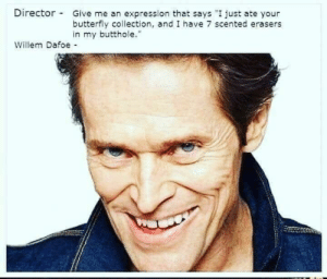 "Willem Dafoe is a national treasure: Director-  Give me an expression that says ""I just ate your  butterfly collection, and I have 7 scented erasers  in my butthole.""  Willem Dafoe Willem Dafoe is a national treasure"