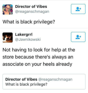 Directorate: Director of Vibes  @reaganschmagan  What is black privilege?   Lakergrrl  @Jawnikowski  Not having to look for help at the  store because there's always an  associate on your heels already  Director of Vibes @reaganschmagan  What is black privilege?