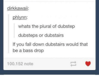 Dank, Dubstep, and Falling Down: dirk kawaii:  phlynn:  whats the plural of dubstep  dubsteps or dubstairs  If you fall down dubstairs would that  be a bass drop  100.152 note