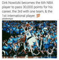 🏀Legend (📷: @ballershype) 💯🔥DOUBLE TAP & TAG a friend.🏀 nba nba2k17 nbaplayoffs nbamemes ➡Everyone ADD us on Snapchat 👻 - ballershype ➡TURN ON POST NOTIFICATIONS ➡Follow my other account @ballershype for NBA news, rumours, videos! ➡LIKE us on Facebook (Link in bio!): Dirk Nowitzki becomes the 6th NBA  player to pass 30,000 points for his  career, the 3rd with one team, & the  1st international player  Caballershype 🏀Legend (📷: @ballershype) 💯🔥DOUBLE TAP & TAG a friend.🏀 nba nba2k17 nbaplayoffs nbamemes ➡Everyone ADD us on Snapchat 👻 - ballershype ➡TURN ON POST NOTIFICATIONS ➡Follow my other account @ballershype for NBA news, rumours, videos! ➡LIKE us on Facebook (Link in bio!)