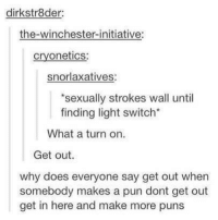 "Memes, Puns, and Tag Someone: dirkstr8der:  the-winchester-initiative:  cryonetics  snorlaxatives:  sexually strokes wall until  finding light switch  What a turn on  Get out.  why does everyone say get out when  somebody makes a pun dont get out  get in here and make more puns tag someone who says ""get out"" a lot"