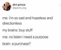 Brains, Prince, and Brain: dirt prince  @pants_leg  me: i'm so sad and hopeless and  directionless  my brains: buy stuff  me: no listen i need a purpose  brain: a purchase?