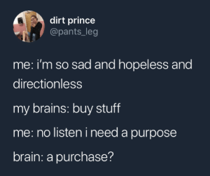 hopeless: dirt prince  @pants_leg  me: i'm so sad and hopeless and  directionless  my brains: buy stuff  me: no listen i need a purpose  brain: a purchase?