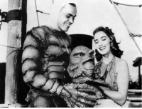 Tumblr, Black, and Blog: dirtyhorror:  Richard Carlson and Julie Adams on the set of Creature from the Black Lagoon (1954).@dirtyhorror