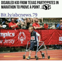 """Dank, Meme, and Http: DISABLED KID FROM TEXAS PARTICIPATES IN  MARATHON TO PROVE A POINT,  Bit.ly/abcnews.7.9  mpics  Jersey  GE  EO  GE <p>Yay via /r/dank_meme <a href=""""http://ift.tt/2E8sQau"""">http://ift.tt/2E8sQau</a></p>"""