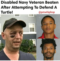 Memes, Florida, and Navy: Disabled Navy Veteran Beaten  After Attempting To Defend A  Turtle!  apmwhiphop Two men and a teenager in Florida are behind bars after they attacked a disabled Navy veteran who was trying to protect a turtle that they were torturing - FULL VIDEO & STORY AT PMWHIPHOP.COM LINK IN BIO
