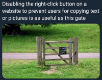 Click, Pictures, and Text: Disabling the right-click button on a  website to prevent users for copying text  or pictures is as useful as this gate  LEASE  CLOSE  GATE 2005 called, they want their websites back