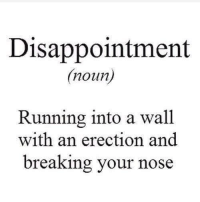 Check us out at Rude, Crude, and Lewd Humor: Disappointment  (noun  Running into a wall  with an erection and  breaking your nose Check us out at Rude, Crude, and Lewd Humor