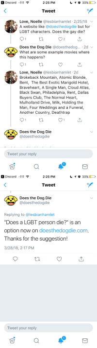 "Club, Dogs, and Lgbt: Discord -111  2:25 PM  Tweet  Love, Noelle @lesbianhamlet 2/25/18  A website like @doesthedogdie but for  LGBT characters. Does the gay die?  2  Does the Dog Die @doesthedog...。2d 、  What are some example movies where  this happens?  Love, Noelle @lesbianhamlet 2d  Brokeback Mountain, Atomic Blonde,  Bent, The Best Exotic Marigold Hotel,  Braveheart, A Single Man, Cloud Atlas,  Black Swan, Philadelphia, Rent, Dallas  Buyers Club, The Normal Heart,  Mulholland Drive, Milk, Holding the  Man, Four Weddings and a Funeral,  Another Country, Deathtrap  Does the Dog Die  @doesthedogdie  Tweet your reply   Discord -111  2:25 PM  Tweet  oes the Dog Die  @doesthedogdie  Replying to @lesbianhamlet  ""Does a LGBT person die?"" is an  option now on doesthedogdie.com.  Thanks for the suggestion!  /28/18, 2:17 PM  Tweet your reply gingersnapwolves: jenniferrpovey:  curface:  omgkalyppso:  pennie-dreadful:  lukenull: I made a difference in the world!  REBLOG TO SAVE YOUR QUEER HEART FROM BREAKING   I've seen a bunch of people in the notes concerned (like I was) of comparisons of members of the lgbt to dogs: but upon visiting their website I was reassured that they monitor a variety of content, including (but not limited to):     THIS IS A GOOD SITE  Yeah, this site is literally so people can check for content they don't want to see…or in some cases content that would make them physically or mentally ill. (I have strobe issues myself…) It's highly useful for a lot of people.  I had no idea they warned for strobe effects, that's awesome! They give me headaches and nausea."