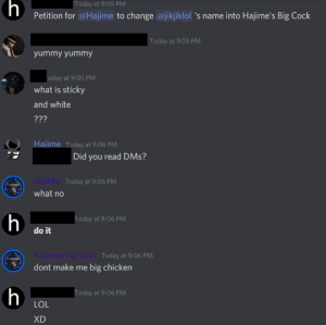 discord owner changed a random guy's name into his big cock: discord owner changed a random guy's name into his big cock