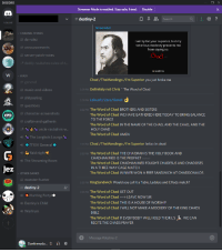 Definitely, Destiny, and Funny: DISCORD  Streamer Mode is enabled. Stay safe, friend.  Disable  #destiny-2  Search  Q  ?  1 ONLINE  Screenshot  CHANNEL THINGS  # da-rulez  # announcements  # server-patch-notes  I am by far your superior, but my  notorious modesty prevents me  from saying so  Chod  daddy-raubahns-rules-of-t  AZQUOTES  FFXIV  Chad /TheMandingo/I'm Superior you just broke me  general  # music-and-videos  # shitposting  # questions  # character-screenshots  # craftin-and-gatherin  3:29 PM  Definitely not Chris The Word of Chad  29 PM Lelouch/Zero/Derek  The Word of Chad BROTHERS AND SISTERS  The Word of Chad WE HAVE GATHERED HERE TODAY TO BRING BALANCE  TO THE FORCE  The Word of Chad IN THE NAME OF THE CHAD, AND THE CHAD, AND THE  HOLY CHAD  The Word of Chad AMEN  3:32 PM  丶uncle-raubahns-w..  The Longbois Lounge  FFXIV General  Raid night  3:33 PM  Chad /TheMandingo/I'm Superior Imfao im dead  The Word of Chad THE CHA'DRAN IS THE HOLY BOOK AND  CHADHAMMED IS THE PROPHET  The Word of Chad CHADHAMMED FOUGHT CHADESUS AND CHADOSES  IN A THREE WAY CAGE MATCH  The Word of Chad WINNER WON A FREE SANDWICH AT CHADDONALDS  3:33 PM  edited)  The Streaming Room  Jez  OTHER GAMES  # monster-hunter  PA, KingSandwich would you call it a Table, Ladders and CHads match?  destiny-2  The Word of Chad GET OUT  The Word of ChadLEAVE NOW SIR  The Word of Chad THIS IS A HOUSE OF WORSHIP  The Word of Chad I WILL NOT MAKE A MOCKERY OF THE KING CHADS  BIBLE  The Word of Chad IF EVERYBODY WILL HOLD THEIR L'S WE CAN  RECITE THE CHADS PRAYER  3:35 PM  Hunting Party  Destiny's Child  Warfrum  Message #destiny-2  Dunkinmydo...  . *