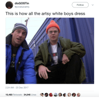 Blackpeopletwitter, Dress, and White: disGOSTin  @proletariatitty  Follow  This is how all the artsy white boys dress  2:24 AM - 25 Dec 2017  10,468 Retweets 34,846 Likes <p>*from the suburbs* (via /r/BlackPeopleTwitter)</p>