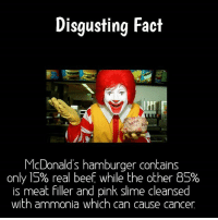 Beautiful, Beef, and Beef: Disgusting Fact  McDonald's hamburger contains  only 15% real beef while the other BS%  is meat filler and pink slime cleansed  with ammonia which can cause cancer Double Tap & tag a friend that loves McDonalds.💓 •••••••••• 😷 Double Tap! 🏆 Last like wins a shout out! ⚡ Tag your friends! •••••••••• - - facts engineering physics science mystic belief crazy unknown beautiful amazing doubletap omg photography fact conspiracy disgusting promotion stores business story