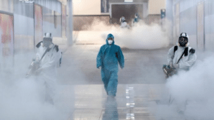 Disinfecting a railroad station in Hunan province, China [Reuters, BBC]: Disinfecting a railroad station in Hunan province, China [Reuters, BBC]