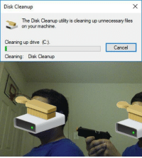 "Memes, Drive, and Via: Disk Cleanup  The Disk Cleanup utility is cleaning up unnecessary files  on your machine  Cleaning up drive (C:)  Cancel  Cleaning: Disk Cleanup <p>Disk cleanup via /r/memes <a href=""https://ift.tt/2JhokIA"">https://ift.tt/2JhokIA</a></p>"