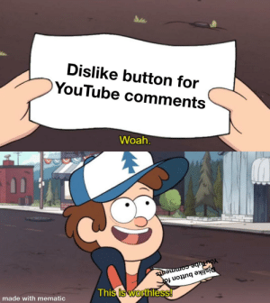 This makes me angry: Dislike button for  YouTube comments  Woah.  YouTube comments  Dislike button for  This is worthless!  made with mematic This makes me angry