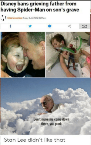 Disney, Spider, and SpiderMan: Disney bans grieving father from  having Spider-Man on son's grave  Elisa Menendez Fndey 5 Jul 2019 8:22 am  f  404  SHARES  Don't make me come down  there, you punk  Stan Lee didn't like that Stan Lee is not happy. F for the kid