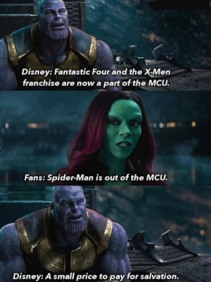SPIDERMAN 🤣🤣: Disney: Fantastic Four and the X-Men  franchise are now a part of the MCU.  Fans: Spider-Man is out of the MCU. SPIDERMAN 🤣🤣