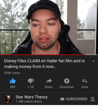 Star Wars Disney: Disney Files CLAIM on Vader fan film and is  making money from it now  590K views  89K  1.1K  Share Download  Save  Star Wars Theory  1.4M subscribers  SUBSCRIBED