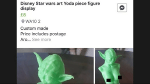 Fine art this is: Disney Star wars art Yoda piece figure  display  WA10 2  Custom made  Price includes postage  Aro... See more Fine art this is