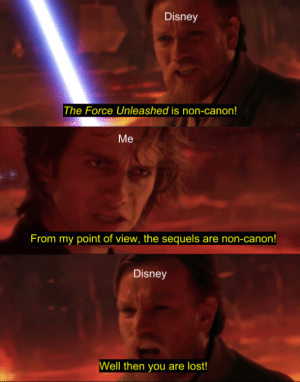 Disney, Lost, and Canon: Disney  The Force Unleashed is non-canon!  Me  From my point of view, the sequels are non-canon!  Disney  ell then you are lost! Accurate portrayal of me talking to Disney.