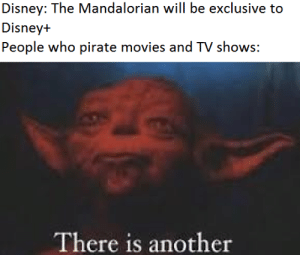 I can't afford having both Netflix and Disney+: Disney: The Mandalorian will be exclusive to  Disney+  People who pirate movies and TV shows:  There is another I can't afford having both Netflix and Disney+