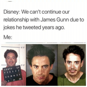 """Dank, Disney, and Memes: Disney: We can't continue our  relationship with James Gunn due to  jokes he tweeted years ago.  Me:  6'0  ir  5""""  3""""  5'0""""  CSATF SP  P 50 5 2 2  D O W N E Y  25 99 Disney, now what. by cinephile46 FOLLOW HERE 4 MORE MEMES."""