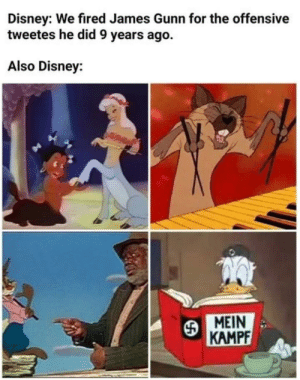 Oh silly disney by rokket1 MORE MEMES: Disney: We fired James Gunn for the offensive  tweetes he did 9 years ago.  Also Disney:  MEIN  KAMPF Oh silly disney by rokket1 MORE MEMES