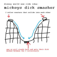 disney ride: disney world new ride idea:  mickeys dick smasher  2 roller coasters that collide into each other  guy or girl stands here and gets their dick  mashed between the 2 rollercoasts