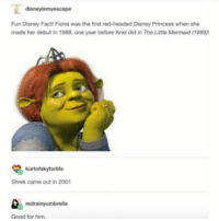 Ariel, Disney, and Memes: disneyismyescape  Fun Disney Fact! Fiona was the first red-headed Disney Princess when she  made her debut in 1988, one year before Ariel did in The Little Mermaid (1989)  kurtofskyforlife  Shrek came out in 2001  redrainyumbrella  Good for him gnight